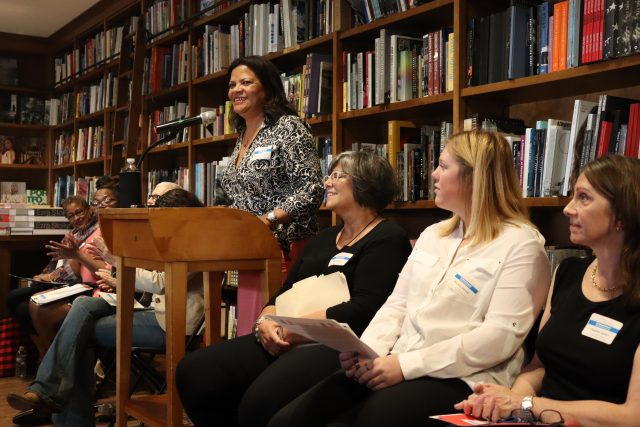 Marisol Zenteno, president of the League of Women Voters of Miami-Dade County, presents her organization's mission at Books & Books in Coral Gables on Jan. 25, 2020. (Bianca Marcof/SFMN)